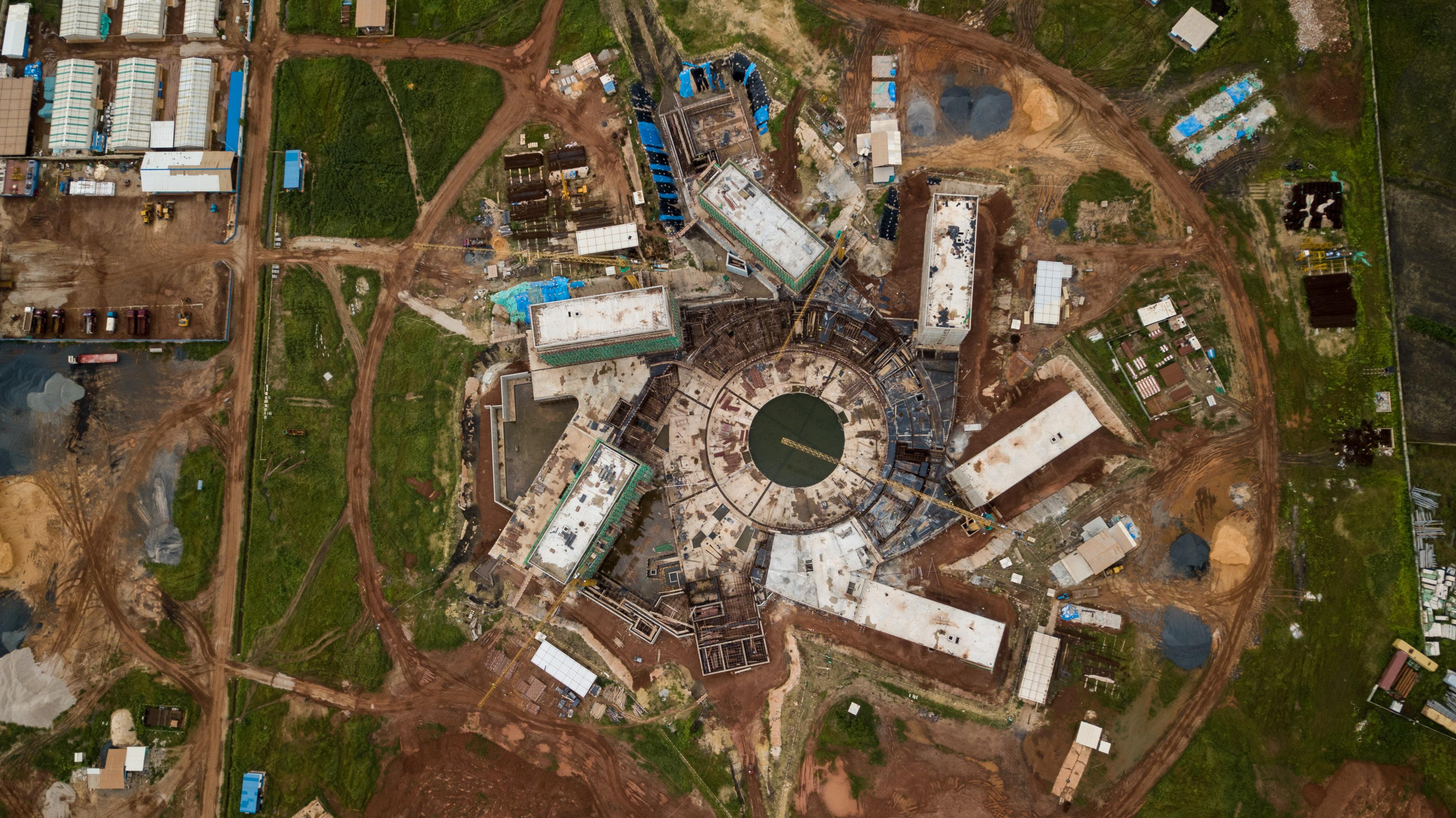 Vue aérienne du chantier de la Maison des Nations Unies